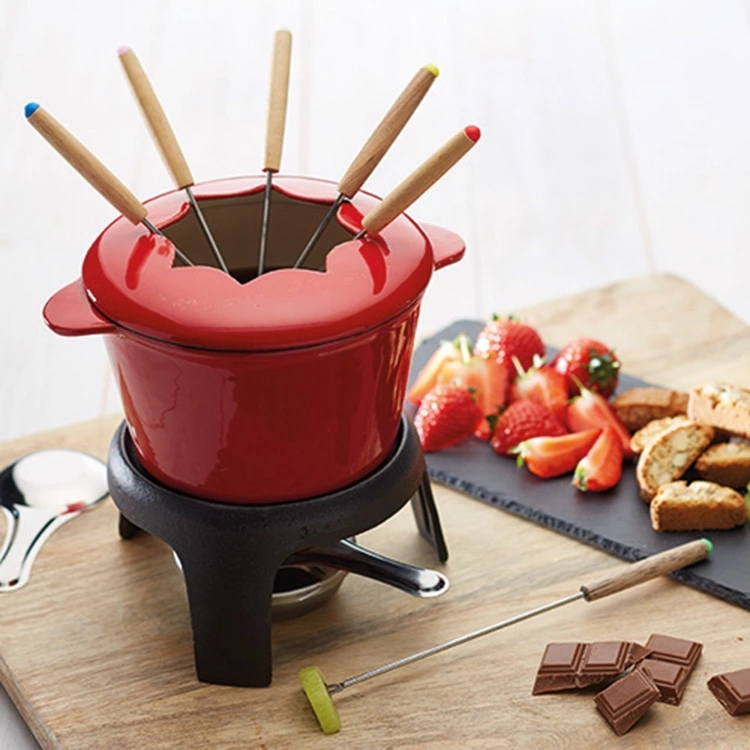 Cast Iron Enamel Swiss Cookware Fondue Set For Sale