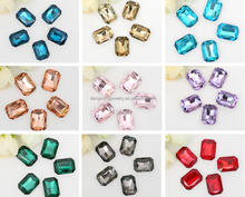 AAA Quality Colorful Wholesales Point Back Loose Rectangle Octagon Shapes Crystal Glass Beads for Jewelry Cloth Decorating Cheap