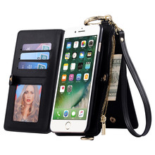 Luxury Genuine Leather Wallet Case for Apple iPhone 7 7 Plus Phone Bag Cover for Apple iPhone7 Plus Stand Card Slot