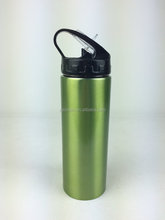 wide mouth stainless steel single wall water bottle with flip cap and straw