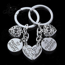 2pcs Mother Daughter Key Chain Set No Matter Where Compass Split Broken Heart Family Gift for Women Girl