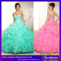 2014 Fashionable Sweetheart Corset Bodice Beaded Tiered Long Chiffon Evening Birthday Banquet Quinceanera Dresses Turquoise