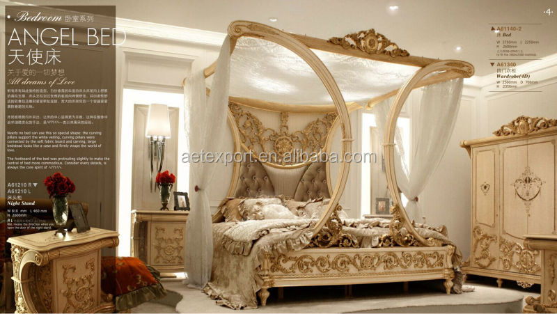 2015 Latest Design Luxury European style bedroom Furniture sets Customized king size bed