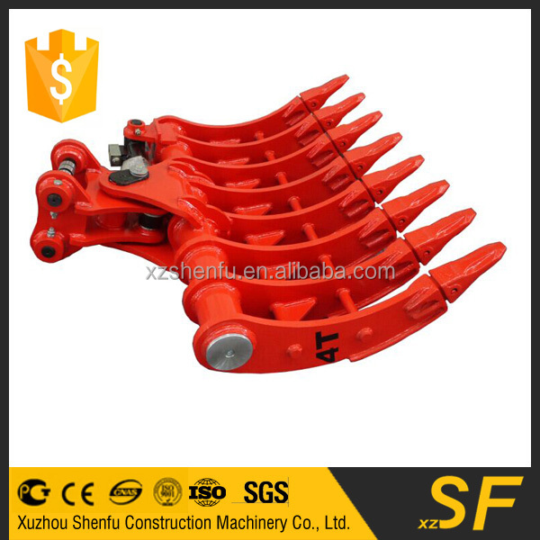 4T mini excavator tilting root rake with teeth