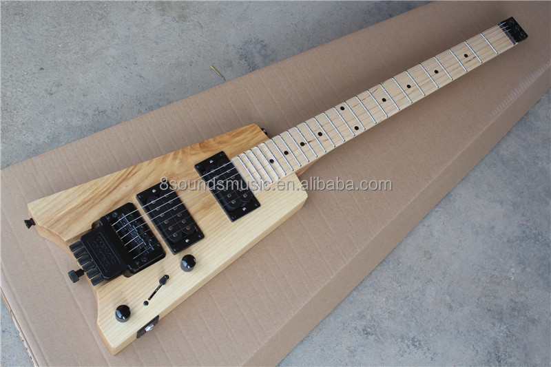 free shipping customize headless electric guitar 6 string scalloped neck guitar ash wood guitars