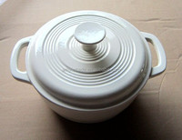 4L Enameled Cream Cast Iron Casserole, Cast Iron Cookware