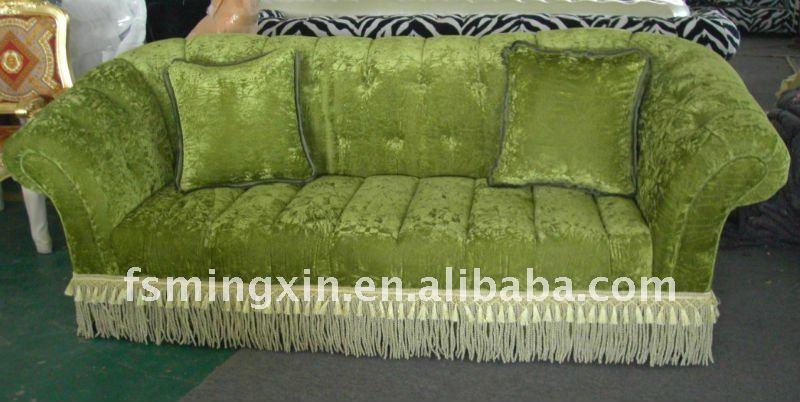 wohnzimmer chesterfield:Wohnzimmer-Möbel-Gewebe-Chesterfield-Sofa im Grün mit Franse-Spitze