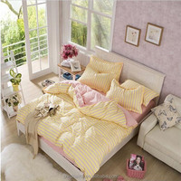 Yellow and pink stripes printing polyester duvet cover set home hotel choice comforter sets bedding wholesale