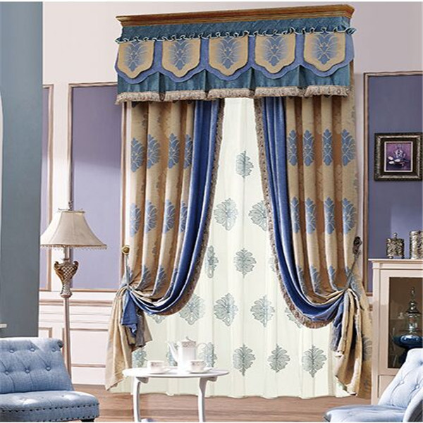 Fancy living room curtains hooks attached waterfall valance