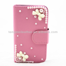 New fashion PU leather wallet bowknot case cover for Samsung Galaxy S2 i9100,for Samsung Galaxy S2 i9100 pink leather case