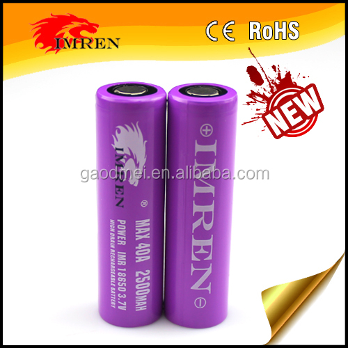 IMREN 18650 40A 3.7v 2500mah LI-MN rechargeable battery for electric tools/mini single led lights manufacturer China