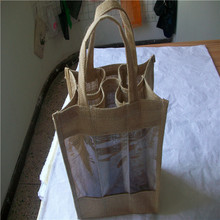jute bags wine bottle bags,6 pack wine bag,jute bags for commodity packing