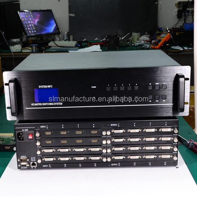 Full HDTV 4K DVI Matrix Switcher 16x16 with Mixed Signal