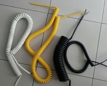 High quality coiled extension spiral cord PUR insulated coiled extension spiral cord