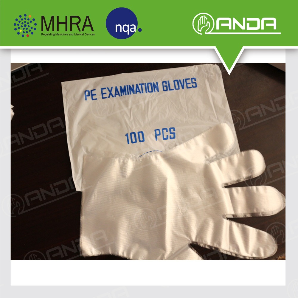 AD002 Anda brand CPE material plastic gloves wholesale