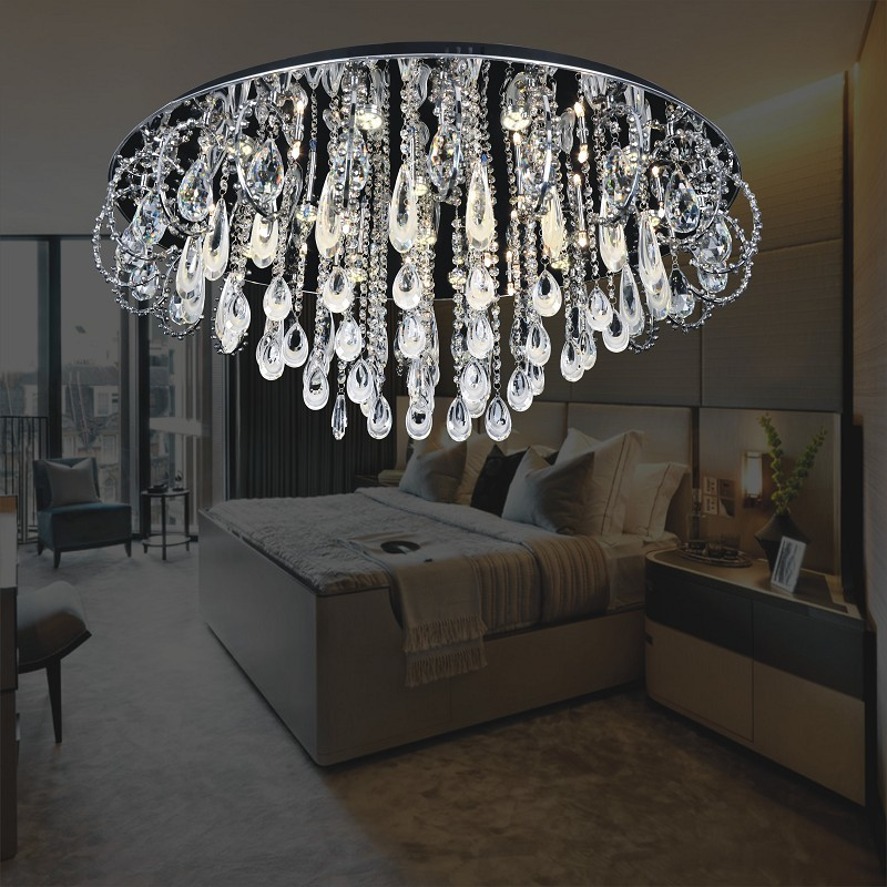new style stainless steel rings crystal ball swag ceiling lights lamp