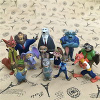 (New Arrival) 2016 Hot Movie 12pcs Zootopia Figures, Bunny PVC Doll, Crazy Animal City Cake Topper Action Figure Kids Party Toy