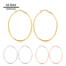 Stainless steel oval 18k yellow gold wire hoop earrings cheap wholesale