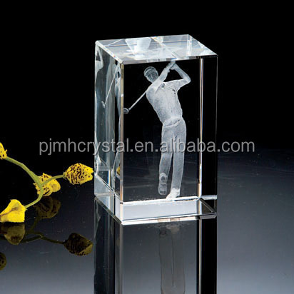 3D Laser Engraved golf sport Crystal Block Square Glass Cube MH-FT0029