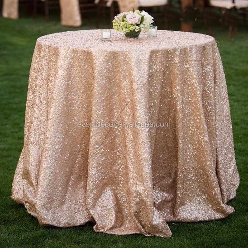Shiny sequined table cloths , champagne color glitter sequin table cloth for weddings