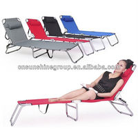 Outdoor folding backrest adjustable camping bed with pillow.