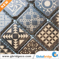 Inkjet Printing Colourful Broken edge Glass Mosaic Cheap Mosaic Tile Sheet Bathroom Wall Tiles