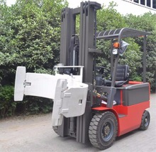 Hot sale 2t Electric Forklift Truck with forward bin dumper with paper roll clamp