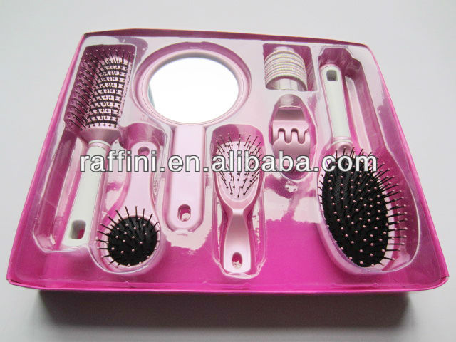 plastic hairbrush set with clip and mirror