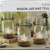 Glass Mason Jar Tea light hanging light candle light