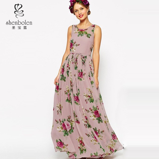 2015 Hot Sale Custom Made Sleeveless A Line Floor-Length Chiffon Floral Print Bridesmaid Dress