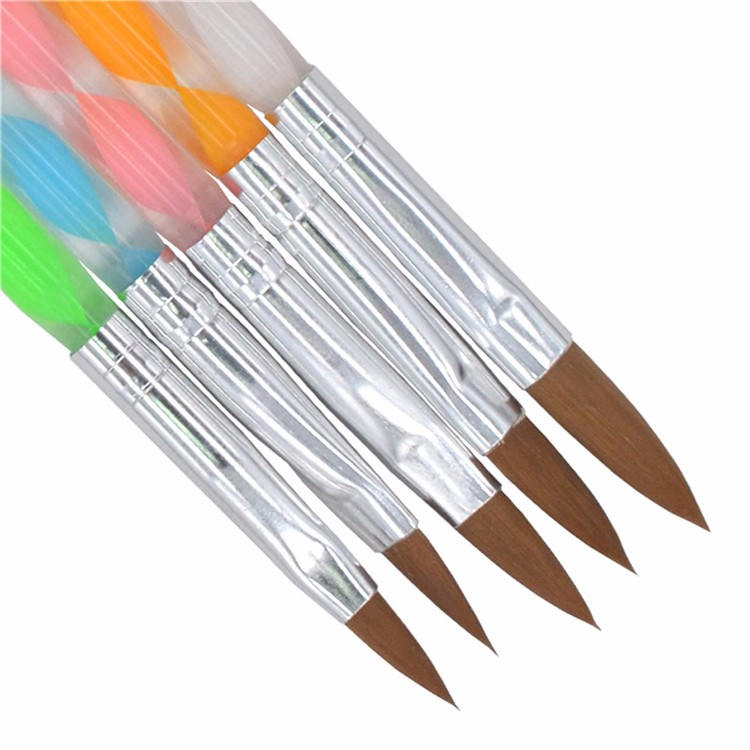 YZWLE 5PCS/Pack Size 4 6 8 10 12 Acrylic UV Gel Polish Nail Art Brush 2-Ways Pen Carving Cuticle Pusher For Manicure