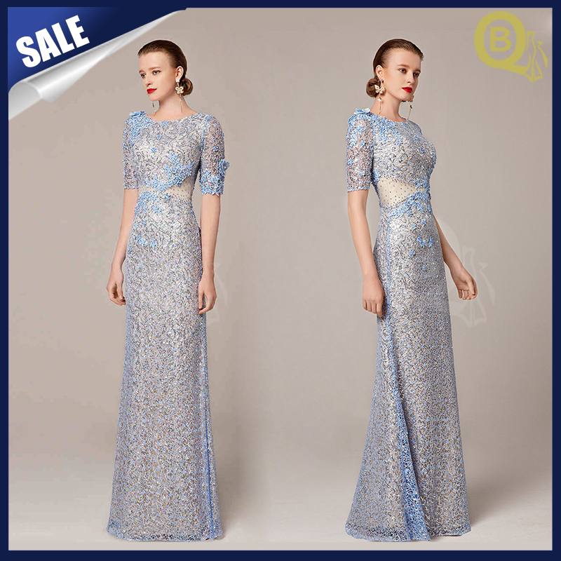 2016 new short sleeve long lace evening dress for sale