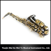 Vintage Black Nickel-plated Golden Key Alto Saxophone, Professional Woodwind Musical Instruments