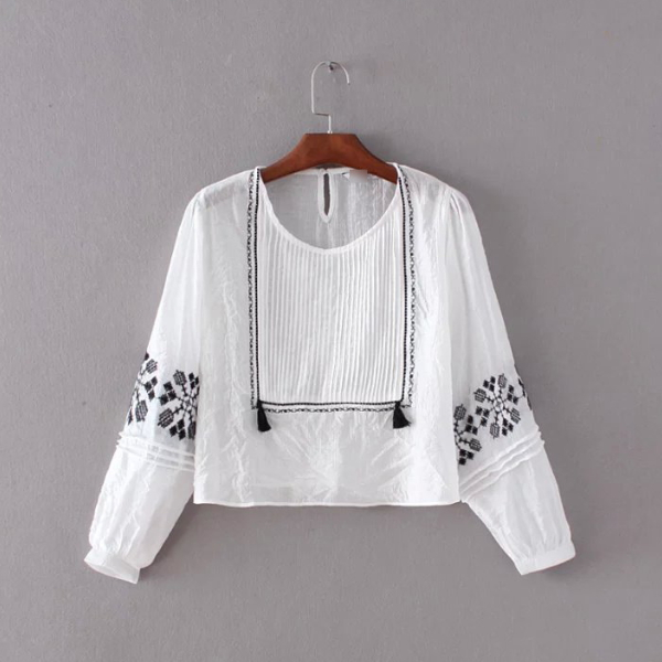 MS68390W embroidered blouse fashion 2016 new directions clothing for women