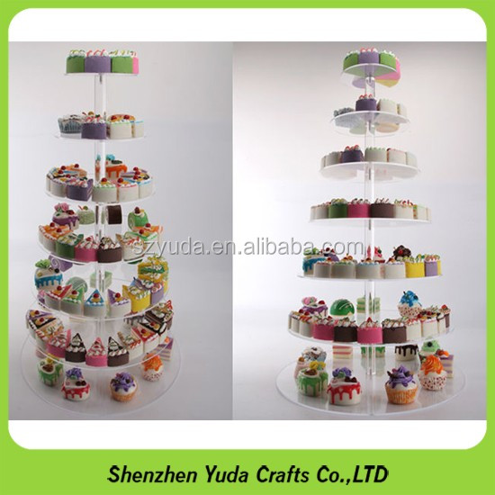 Wholesale cupcake holder 7 tiers pop clear acrylic wedding cake stand