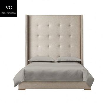 Luxury fabric bed with high headboard french style bed bedroom furniture storage bed