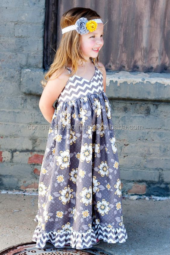 summer kids seaside skirt cotton party chevron dress