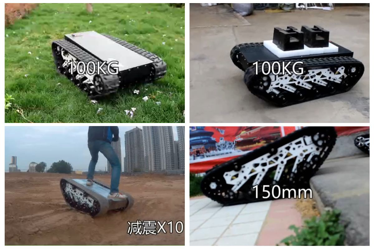 Shock absorption 50mm 10 sets of suspension arms + self-tensioning suspension tracked robot vehicle