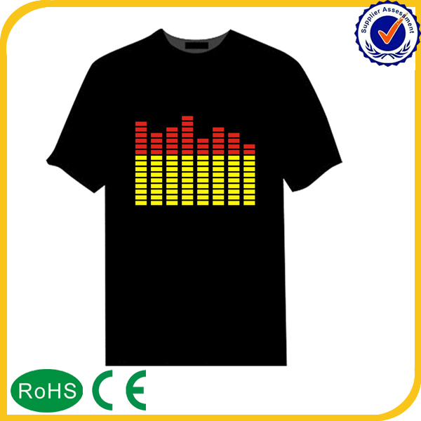 Good design custom led t-shirt el sound activated t shirt