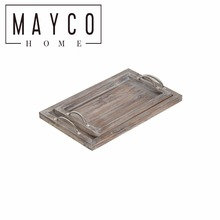 Mayco Rustic 2 Pieces Nesting Wood Serving Tray with Metal Handles