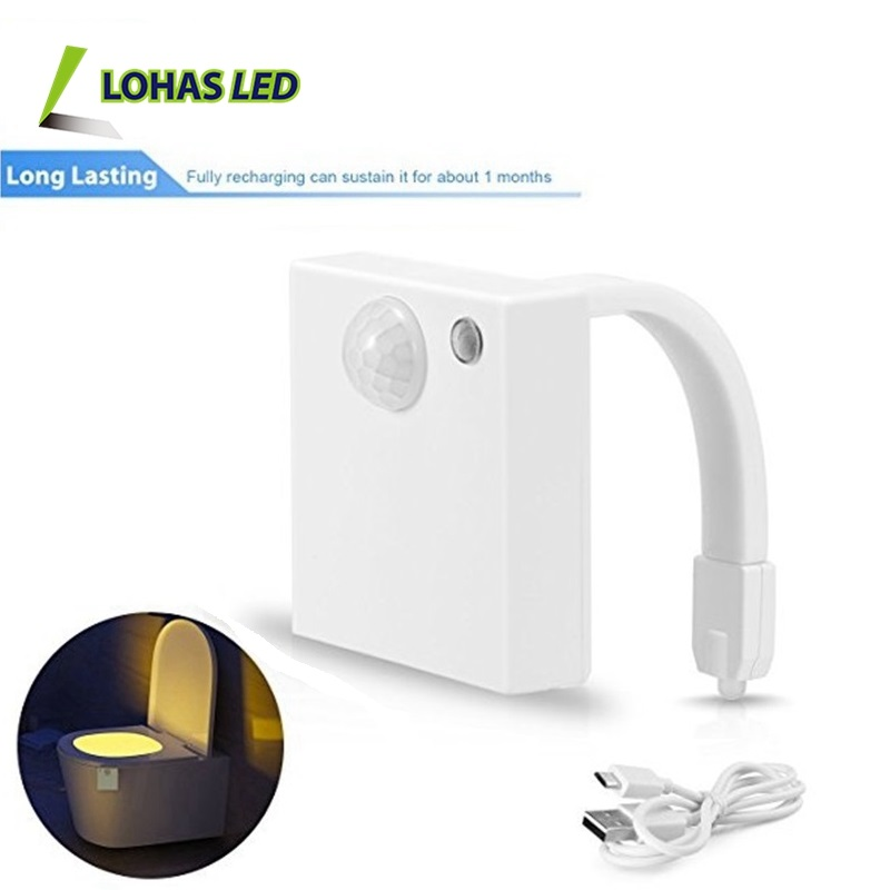 USB Rechargeable 1W Toilet Night Light with IP65 Waterproof Motion Sensor in Darkness Only Fits Any Toilets