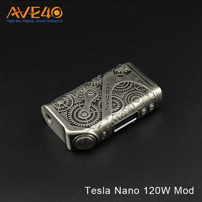 Steampunk Style Teslacigs Nano 120W Mod Two 18650 Die Cast Zinc Alloy Body