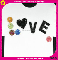 Factory price rhinestone sticker sheets design love letter epoxy back pointed rhinestone transfer hot fix strass motif