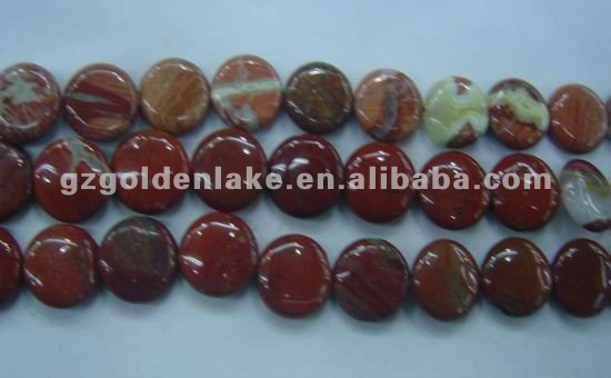 SL60419 Poppy Jasper Puffy Coin Loose Beads