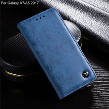Luxury retro GENUINE flip leather phone case for Galaxy A5/A7 2017, matte folio wallet cover case for Galaxy A7 A5 2017
