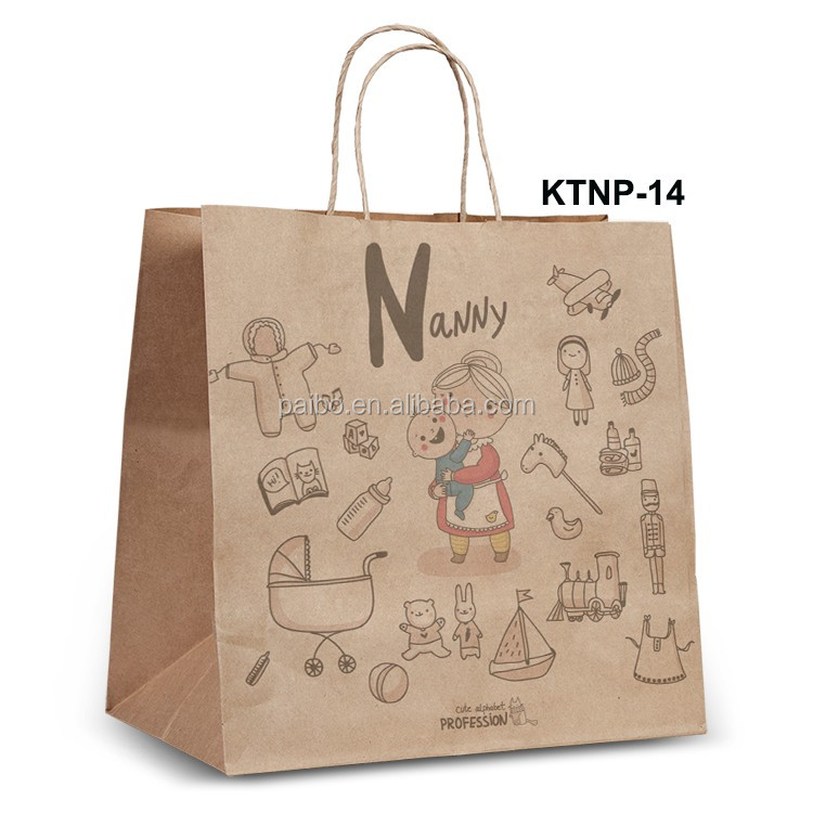 NPRT-14 Wine Kraft paper bag new design for retail with twisted flat paper handle