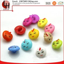 Fancy plastic buttons apple shape Smiling face eco friendly children's colourfull ABS button 13mm