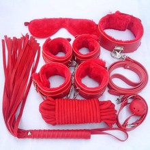 7Pcs/Set Sex Bondage Kit Fetish Restraint Adult Games Toys Foot Handcuff Sex Gag Whip Collar Erotic Toy