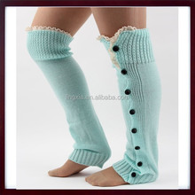 New Crochet Lace Trim Knit women Leg Warmers with buttons, womens buttons leg warmers