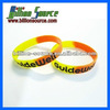 Two colour sectioned & debossed silicone armbands bracelets